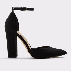 Black Aldo Nicholes Block Heel Pumps Ankle Strap 7